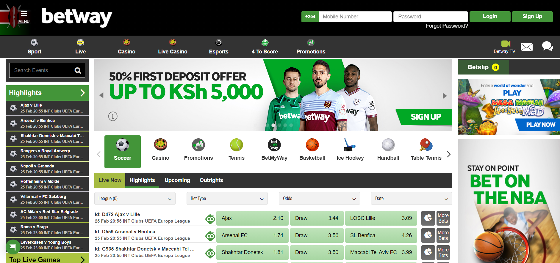 Betway login in Kenya